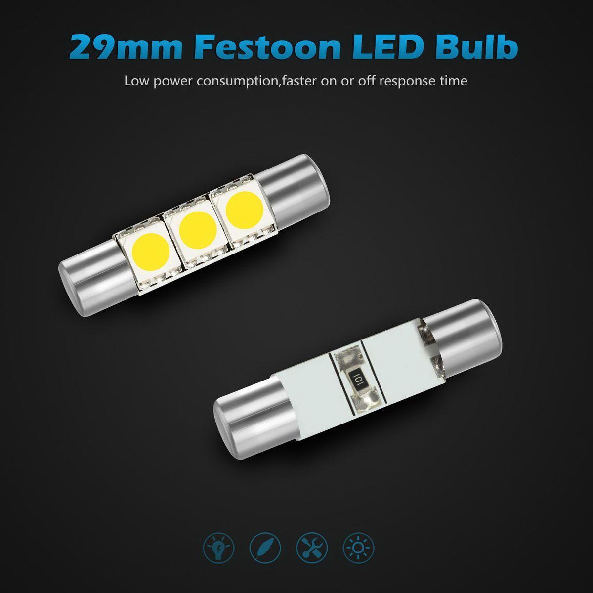 white 3 smd fuse led visor vanity mirror lights makeup lights ebay. Black Bedroom Furniture Sets. Home Design Ideas
