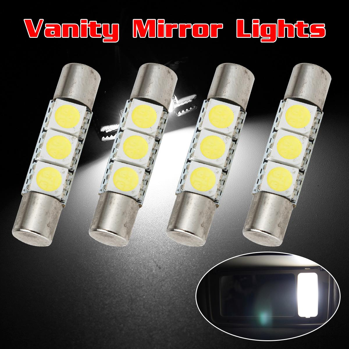 4pcs white 5050 3 led car interior vanity mirror lights sun visor lamps 12v ebay. Black Bedroom Furniture Sets. Home Design Ideas