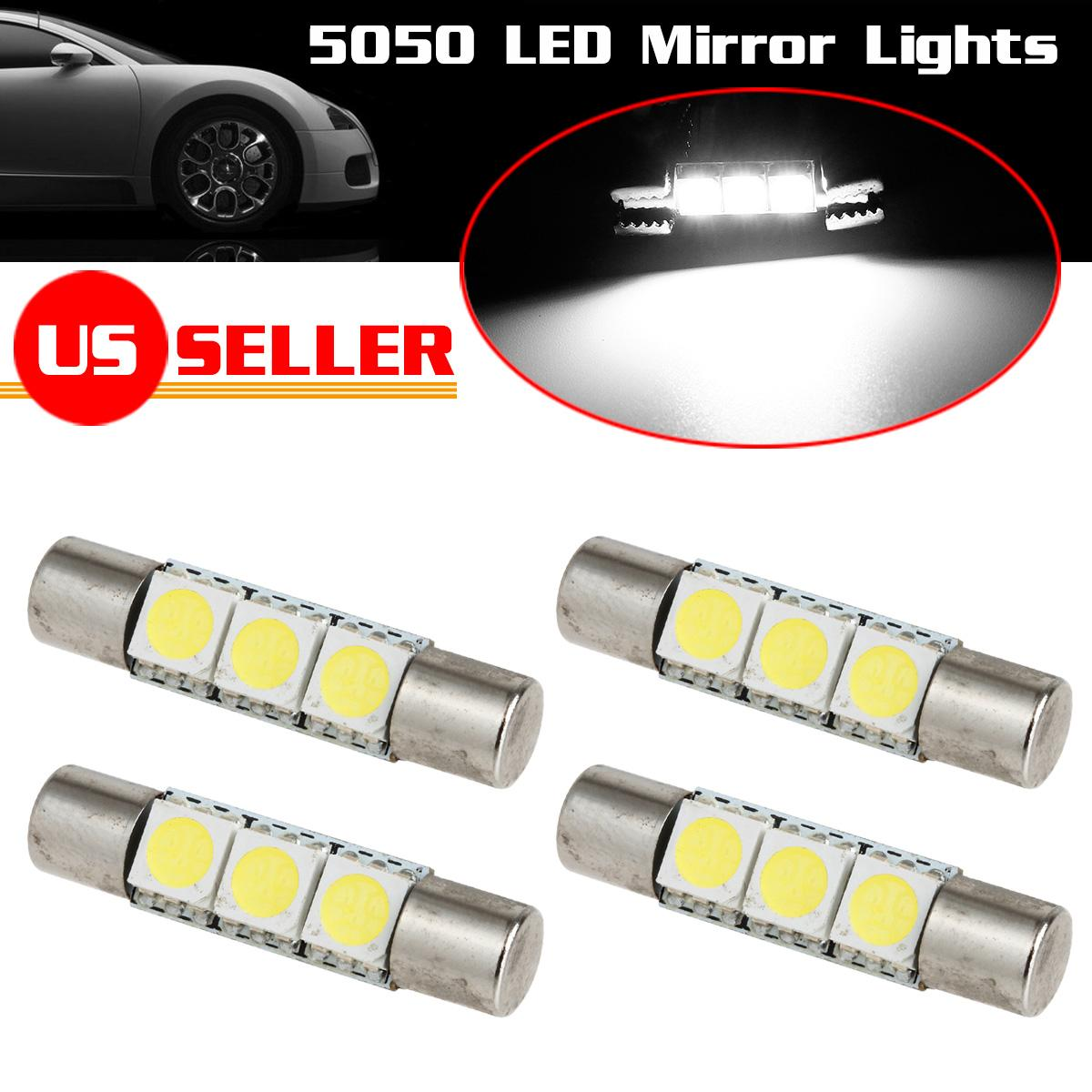 4x xenon white 3 5050 smd led bulbs for car vanity mirror lights sun visor lamps ebay. Black Bedroom Furniture Sets. Home Design Ideas