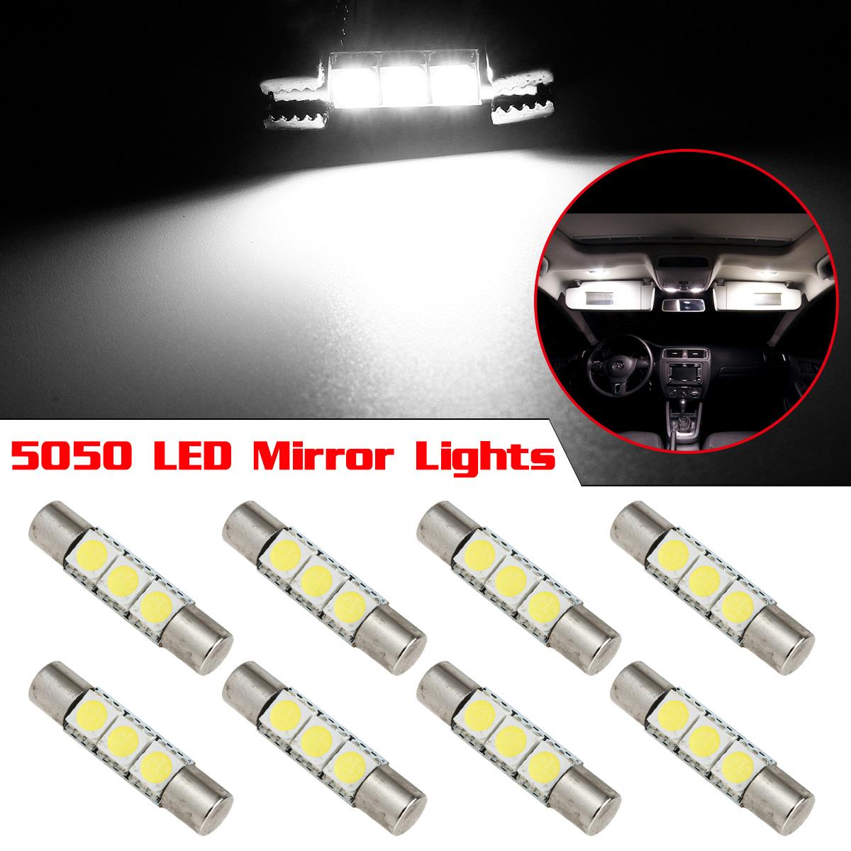 8x xenon white 3 smd 5050 led bulbs for car vanity mirror lights 28 29mm 6641 ebay. Black Bedroom Furniture Sets. Home Design Ideas