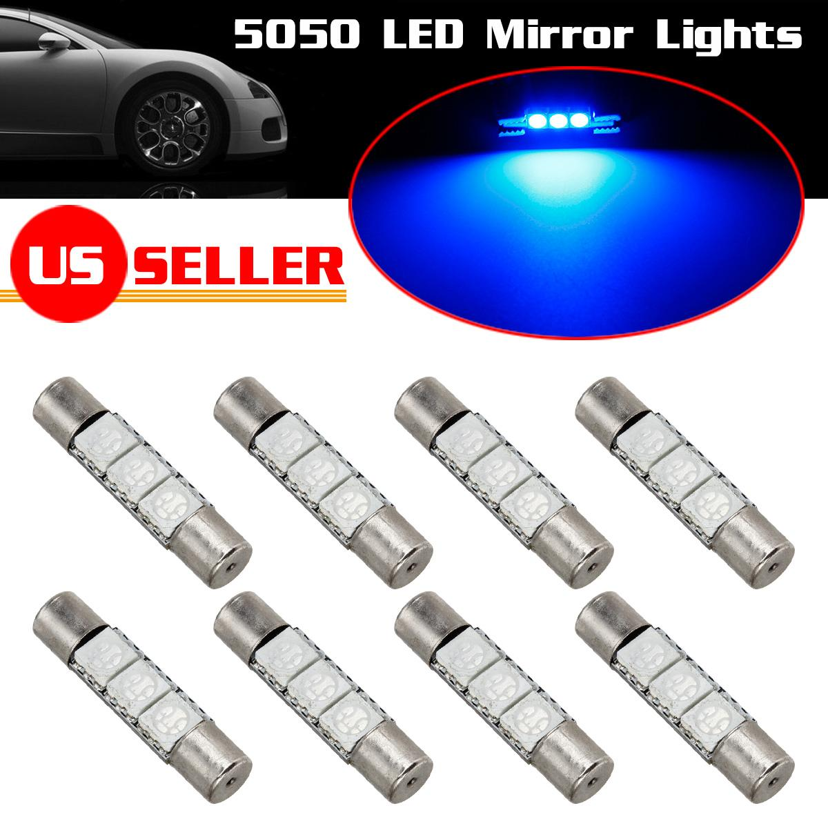 8x Ultra Blue 3 SMD LED Bulbs For Visor Vanity Mirror Light F30 WHP 6614F. 8x Ultra Blue 3 SMD LED Bulbs For Visor Vanity Mirror Light F30