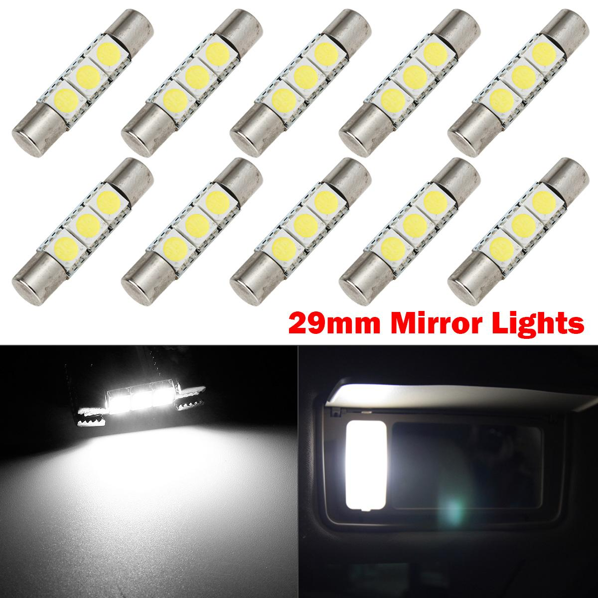 10PCS 3 SMD 6614F Fuse LED Sun Visor Vanity Mirror Lights Bright White EBay