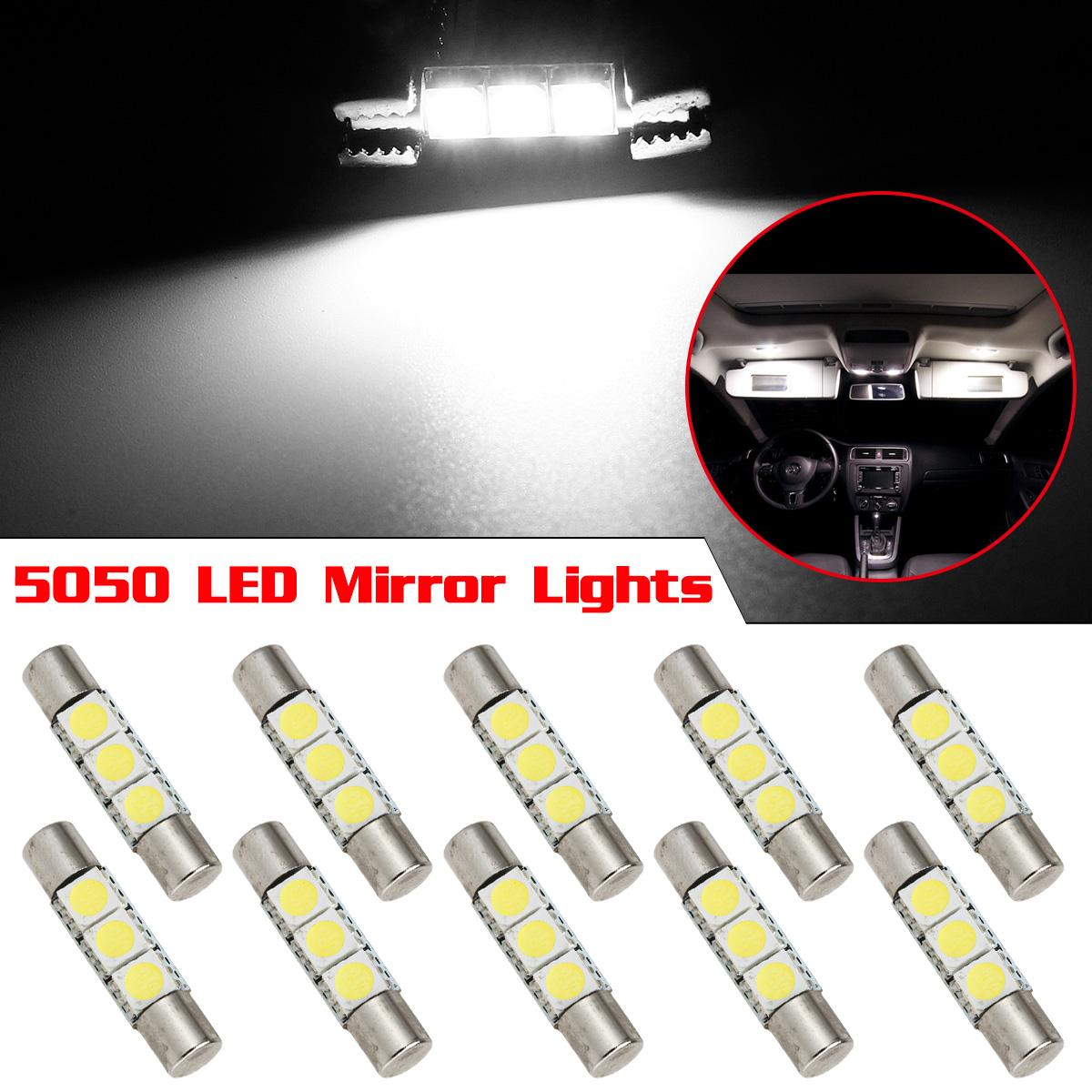 10x xenon white 3smd 5050 led bulbs interior sun visor vanity mirror lights 6641 ebay. Black Bedroom Furniture Sets. Home Design Ideas