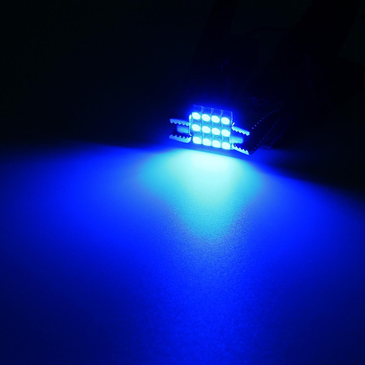 4 X Blue 12smd Led Map Dome Interior Lights Bulbs 28mm Festoon Ebay