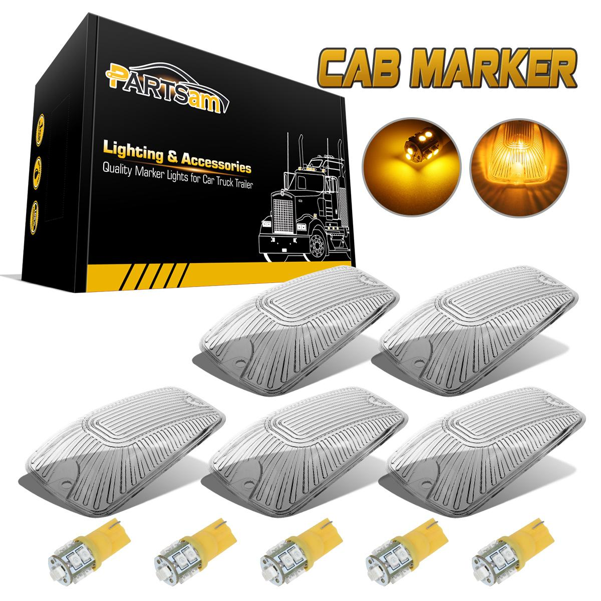 1992 Gmc Rally Wagon 3500 Camshaft: 5PC Roof Light Cab Marker Clear Covers+168 Amber LED Bulbs