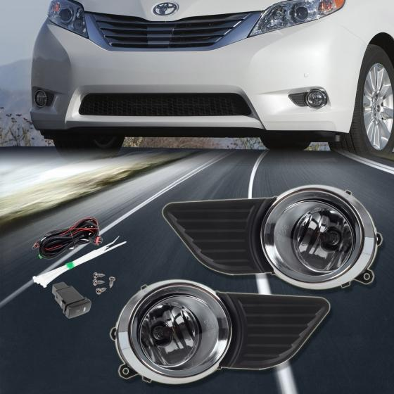For 2011 2015 Toyota Sienna Clear Bumper Fog Lights Lamps