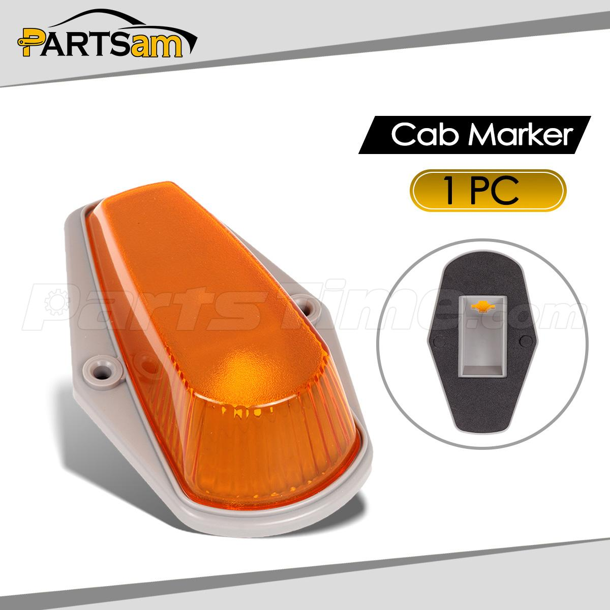 5 Roof Cab Marker Clearance Light Amber Covers+Base Housing For 80-97 Ford F-150
