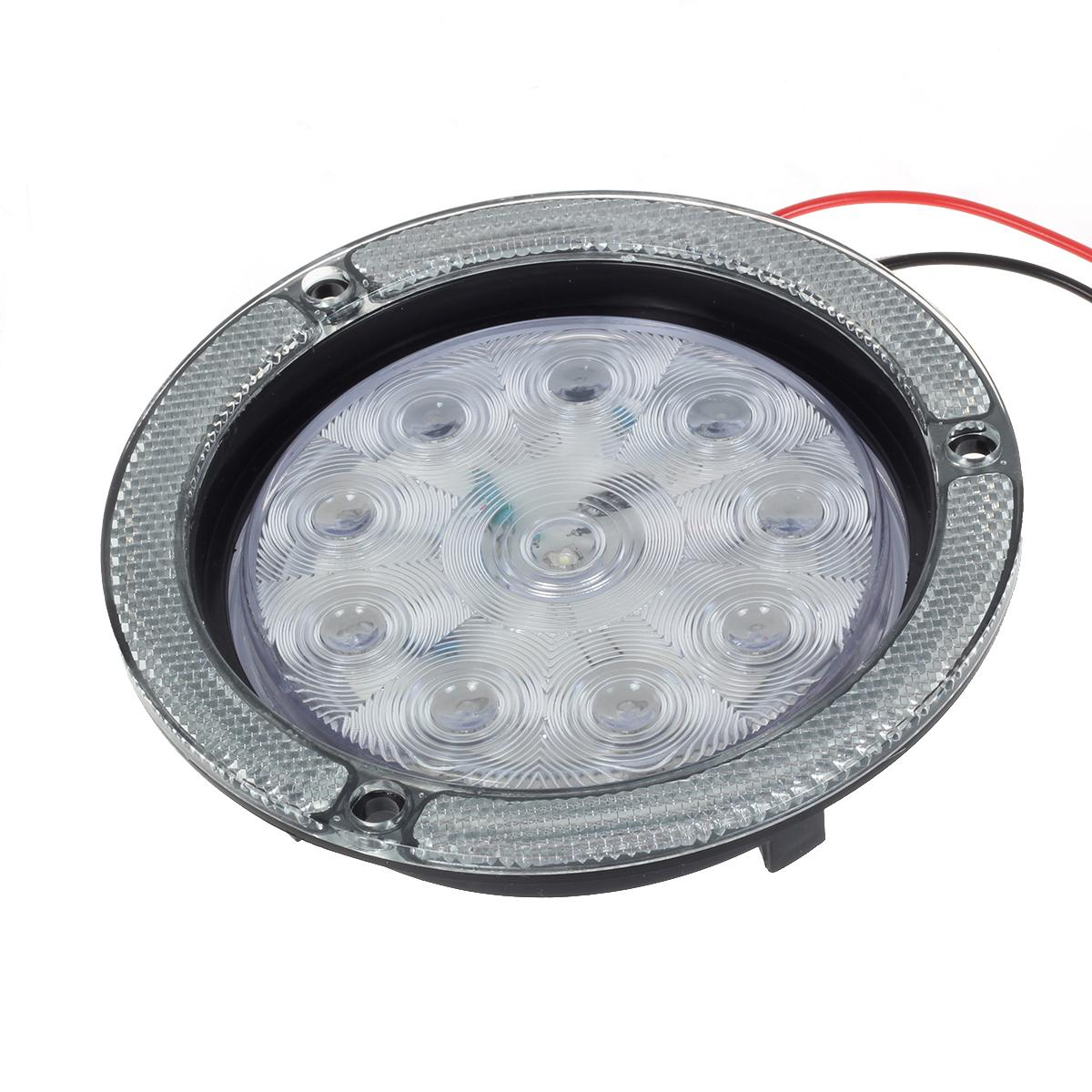 """4"""" Round White LED Truck Trailer Boat 10 Diodes Reverse"""