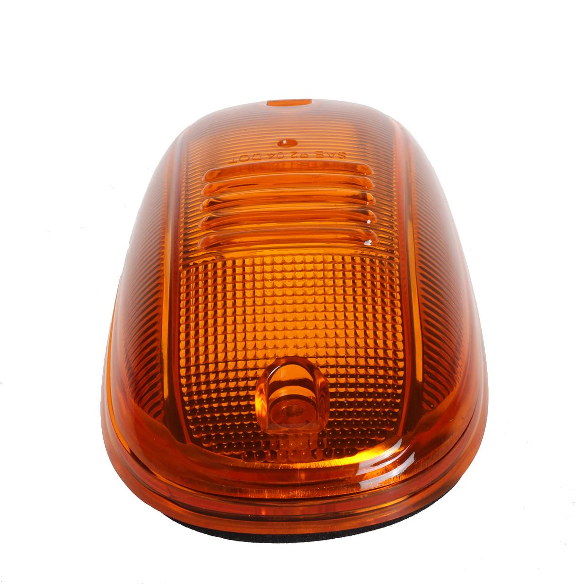5 Cab Marker Clearance Light Lamp Amber Covers Base