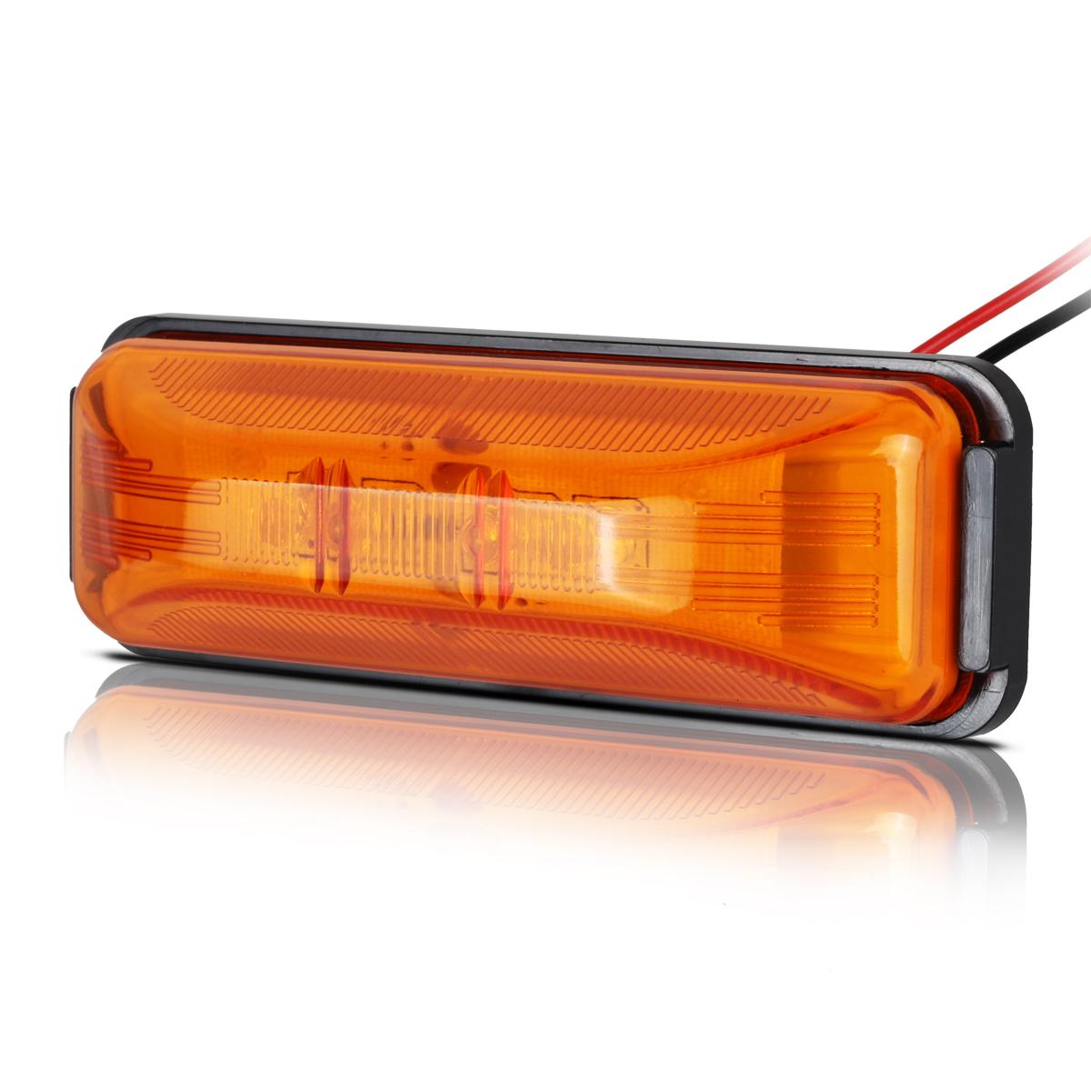 "(2) 3.8""Amber Side Marker Clearance 4Diode Light Trailer"