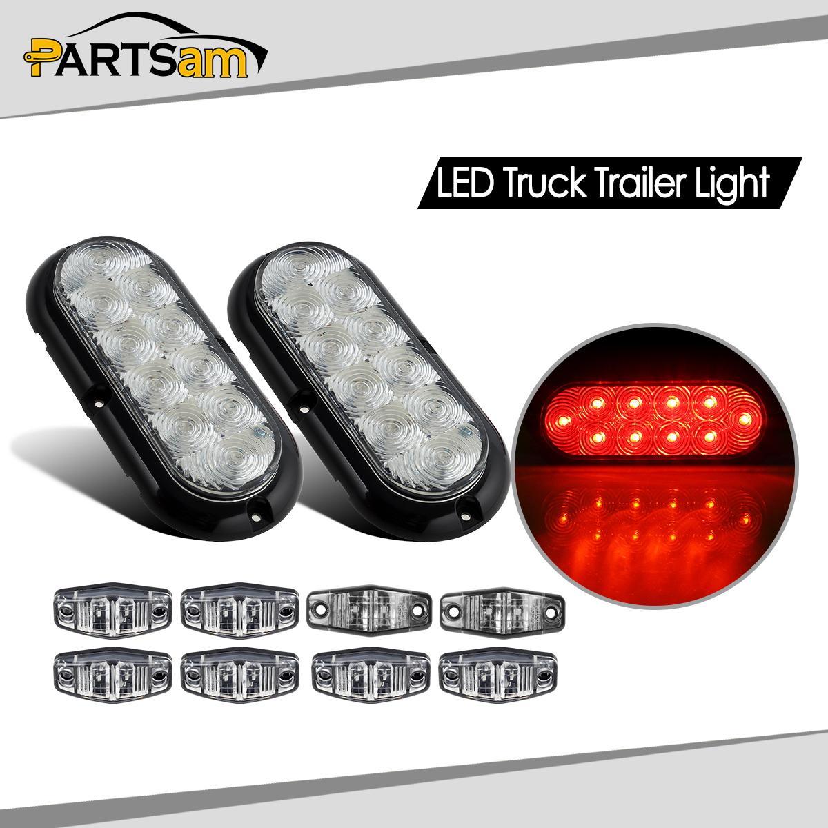 Trailer Tail Light Lens : Trailer led light kit clear lens red stop turn tail
