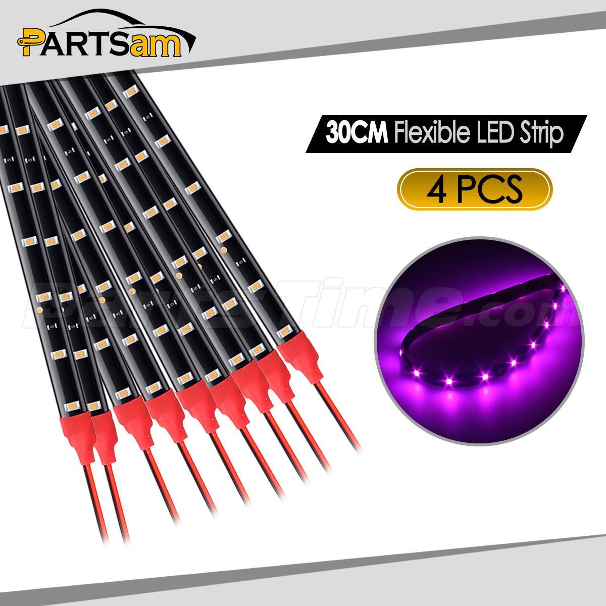 4pcs Pink Purple LED Strip Lights Interior Exterior Glow Neon