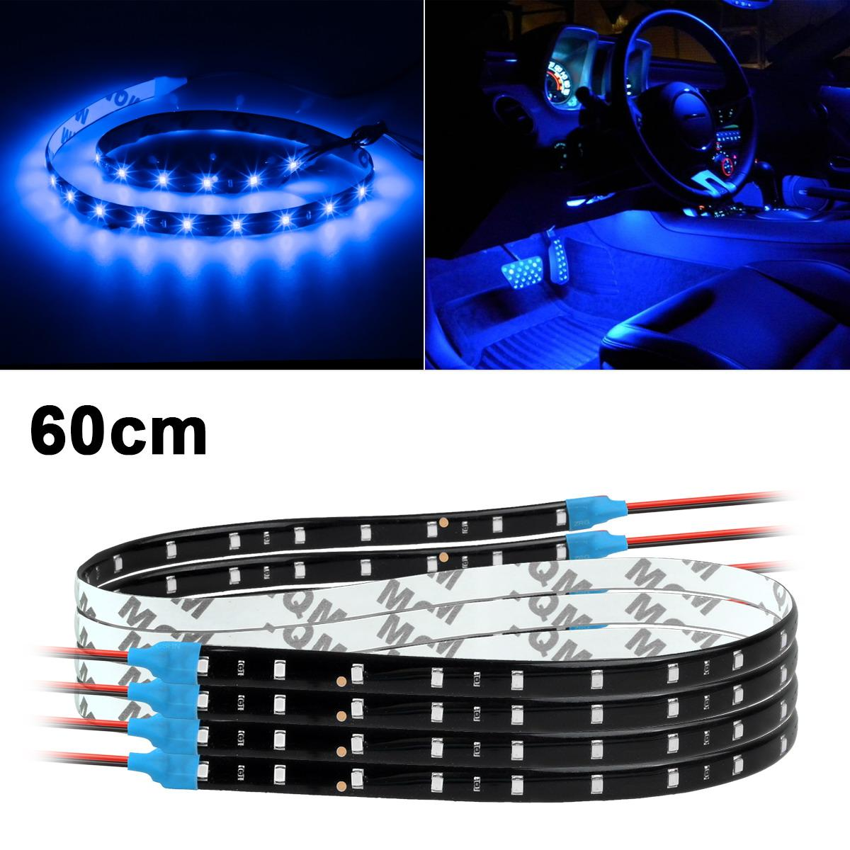 4x 60cm 24 blue 3528 30smd bright flexible led car strips interior door light ebay. Black Bedroom Furniture Sets. Home Design Ideas