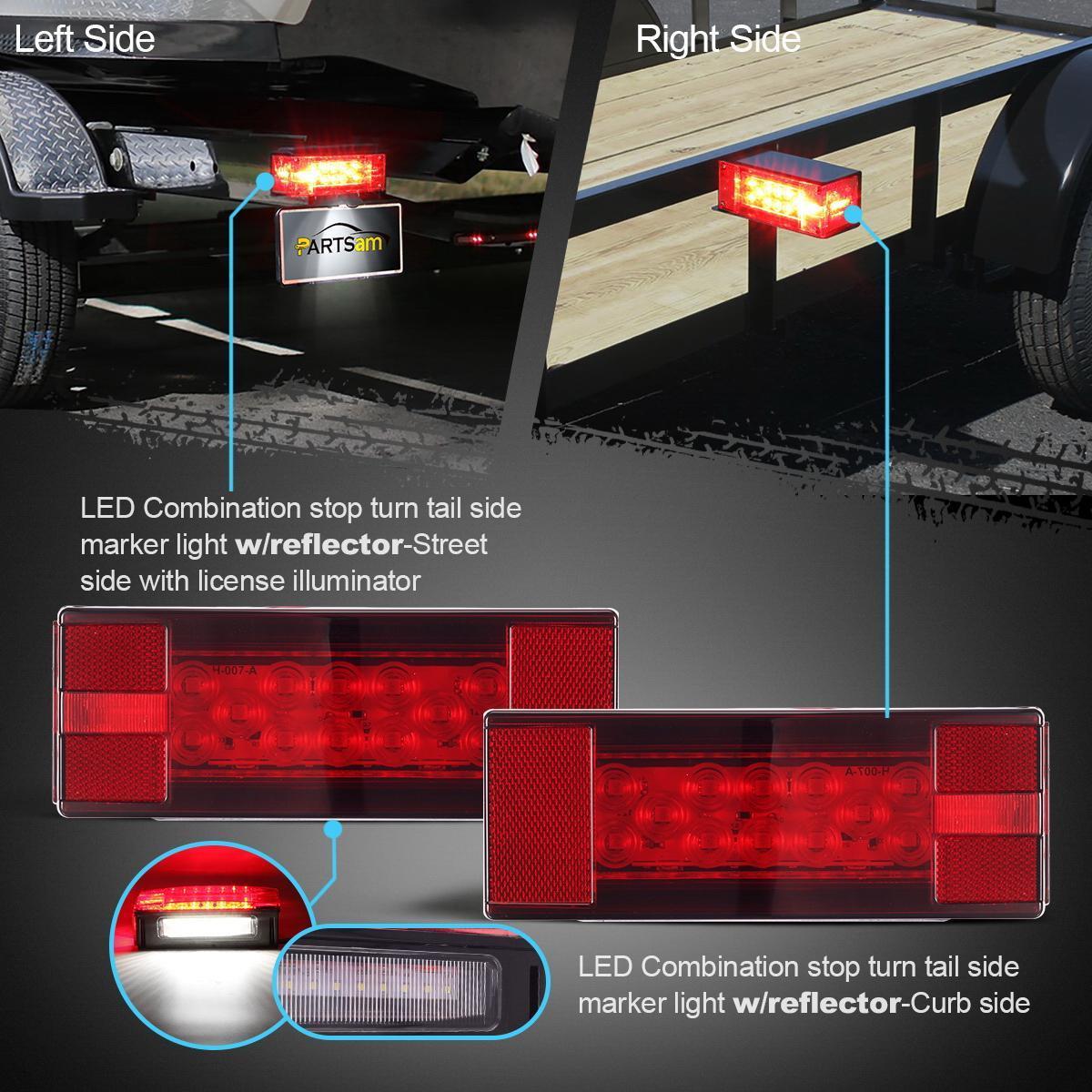 Truck Trailer Led Light Kit Rectangle Stop Turn Tail Side