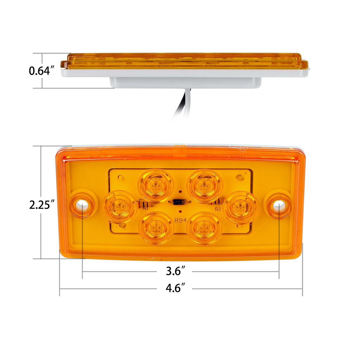 Amber Led Roof Cab Clearance Truck Bus Marker Light Flush