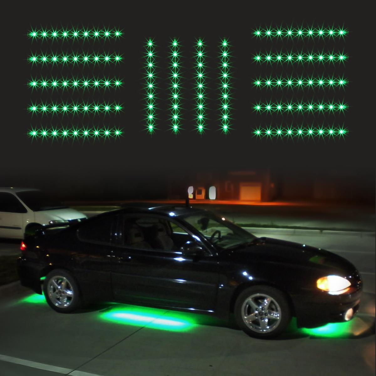 14pc green car truck underglow under body neon accent glow led lights 12 strip - Underglow neon ...