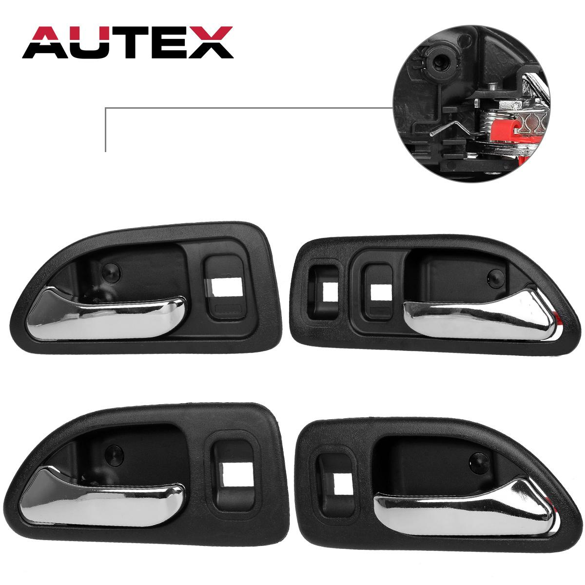 4 chrome internal front rear left right door handle black for 1997 honda civic window crank handle