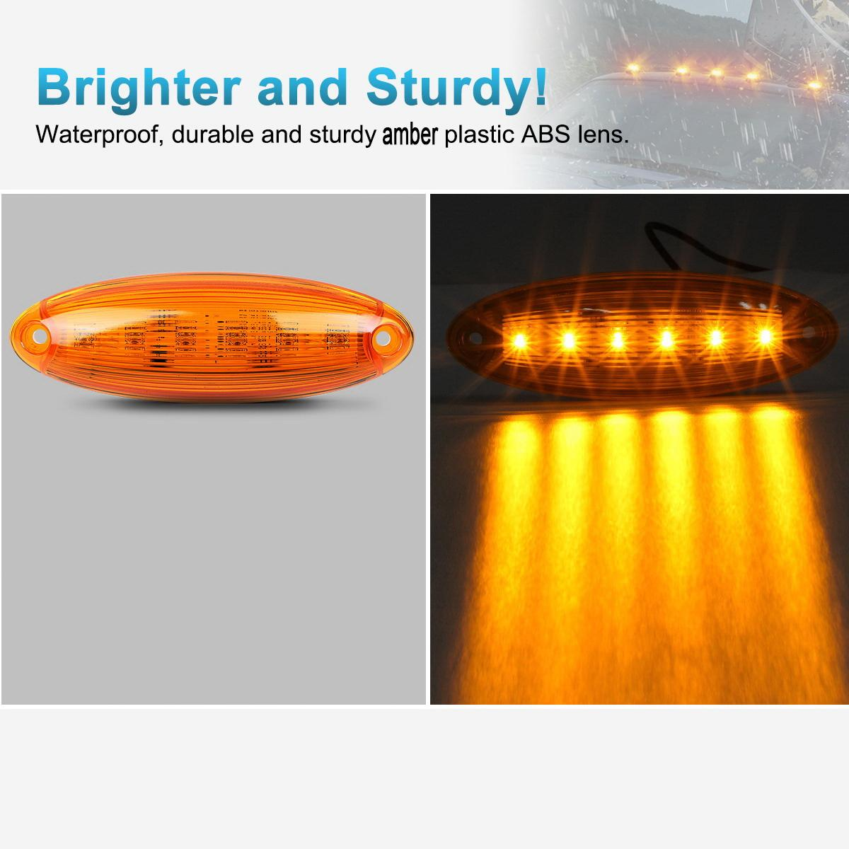 1x6 Led Amber Cab Marker Roof Top Clearance Light Lamp For
