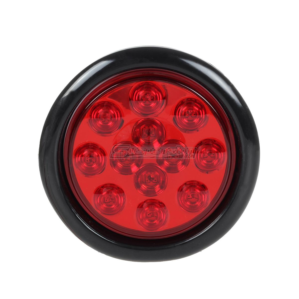 6pcs 4 U0026quot  Red  White Round 12 Led Stop Tail Turn Reverse