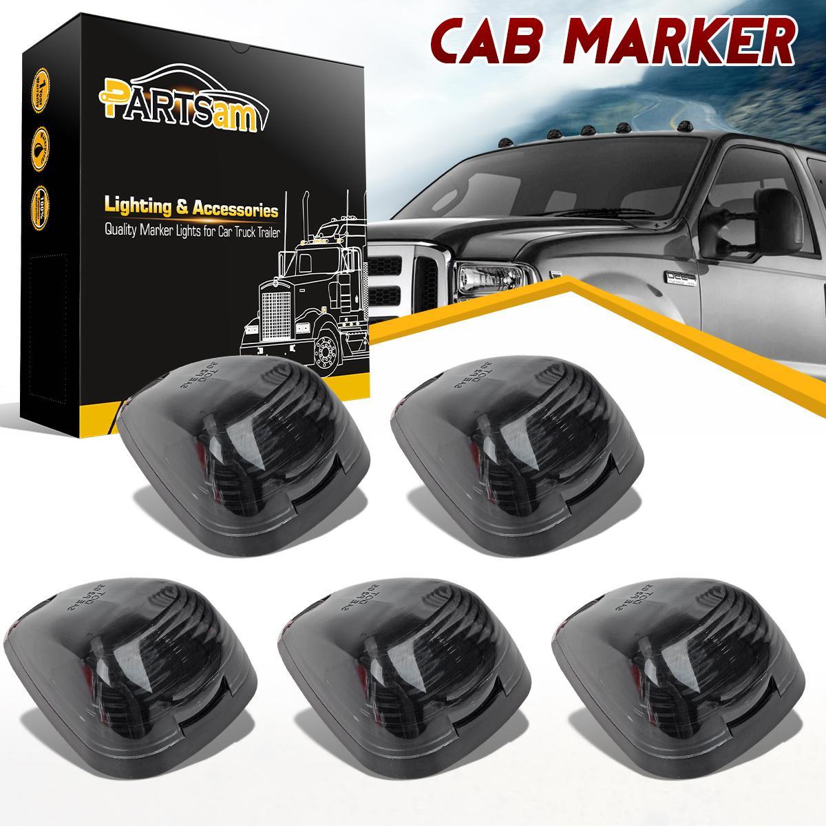 5xSmoke Lens Cab Roof Top Light+ 5xCab Marker Base For 03