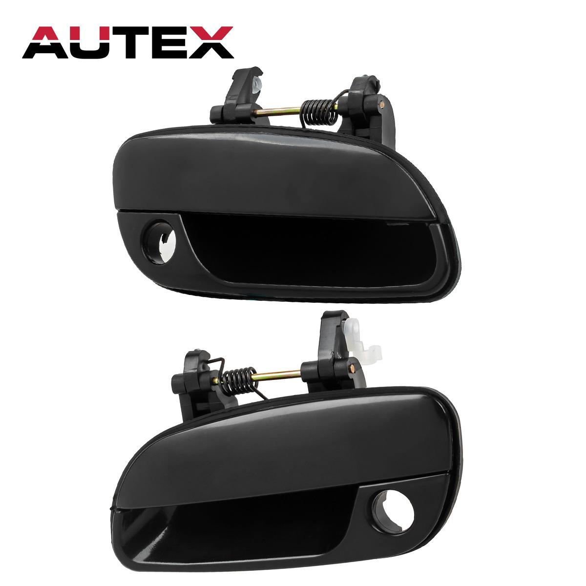 Pair Left Right Front Outside Door Handles Black For 2001 2005 Hyundai Elantra