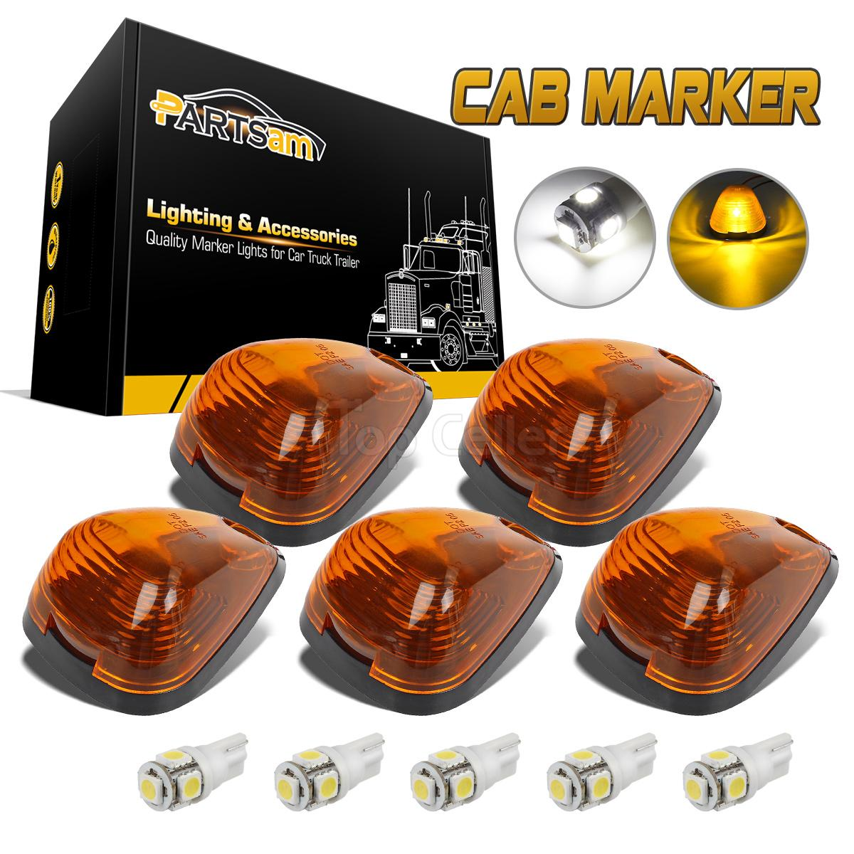 5x Amber Roof Cab Marker Lights White Led Assembly For
