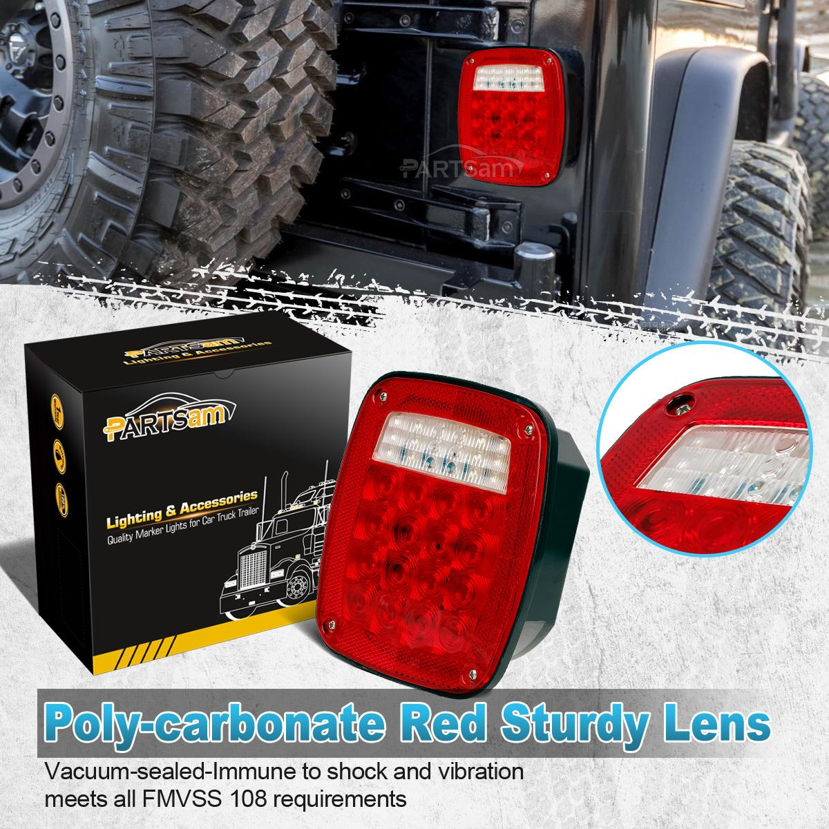 Semi Trailer Lights Led : Pair jeep style led stop turn tail lights w license lamp