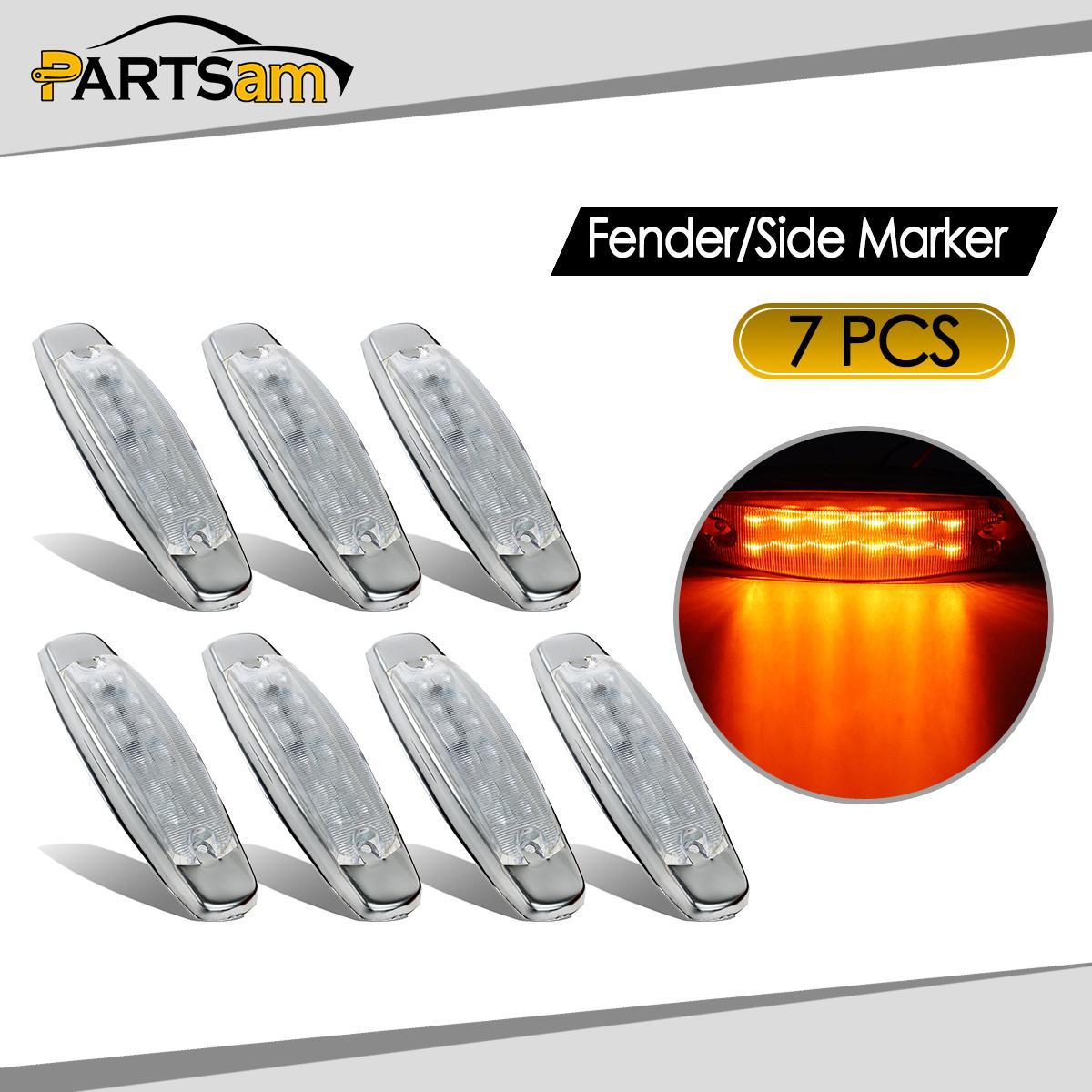 7x led clear amber side cab marker light for peterbilt. Black Bedroom Furniture Sets. Home Design Ideas