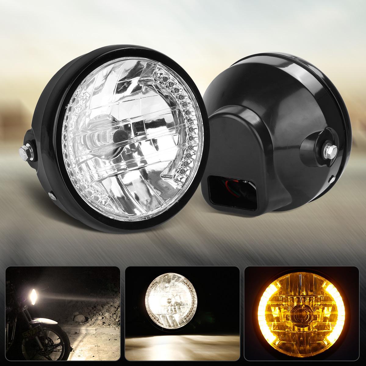 2005 2009 ford mustang 2x hid white 921 led reverse light bulb backup - 7 Black Halogen Motorcycle Headlight Amber Led Angel Eye Turn Signal Head Light