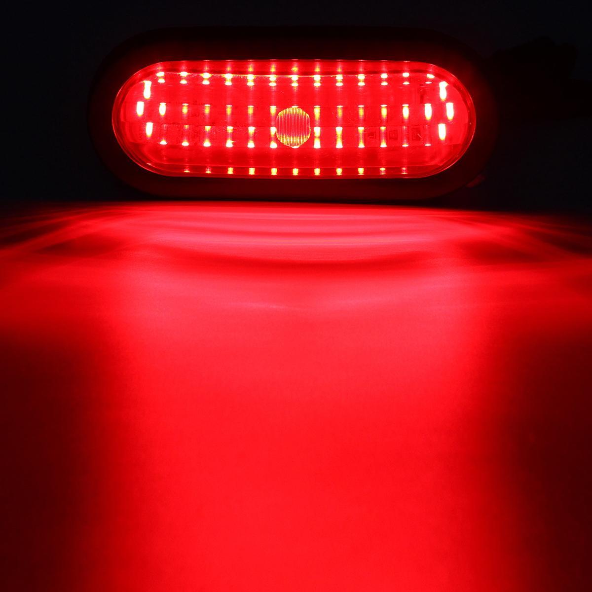 "6xRed/White Truck Trailer Boat 6"" Oval 45LED Tail Stop Turn Brake Reverse Lights"