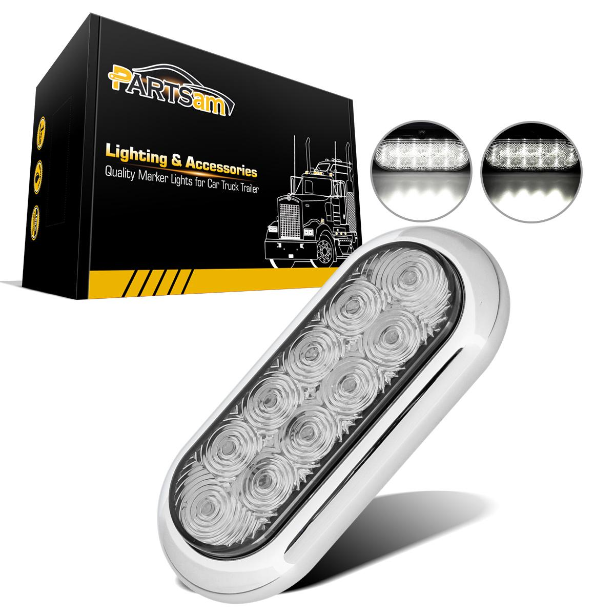 6 Quot Oval Chrome White 10 Led Flange Mount Stop Turn Tail