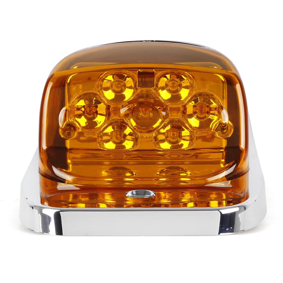 5xchrome amber 7 led upper cab marker lights for peterbilt. Black Bedroom Furniture Sets. Home Design Ideas