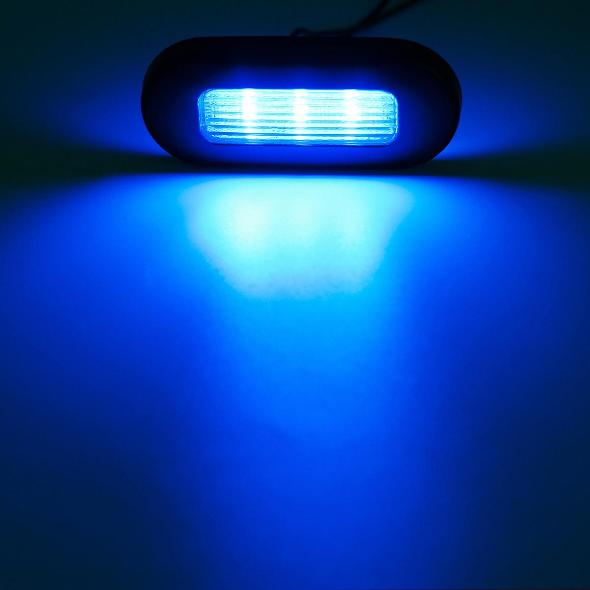 3 Boat Rv Interior Exterior Blue 3led Courtesy Cabin Walkway Oval Accent Light Ebay
