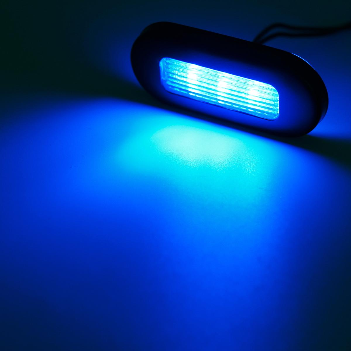 "Marine Led Boat Lights: 4x 3"" Blue LED Oblong Stainless Courtesy Light Yacht"