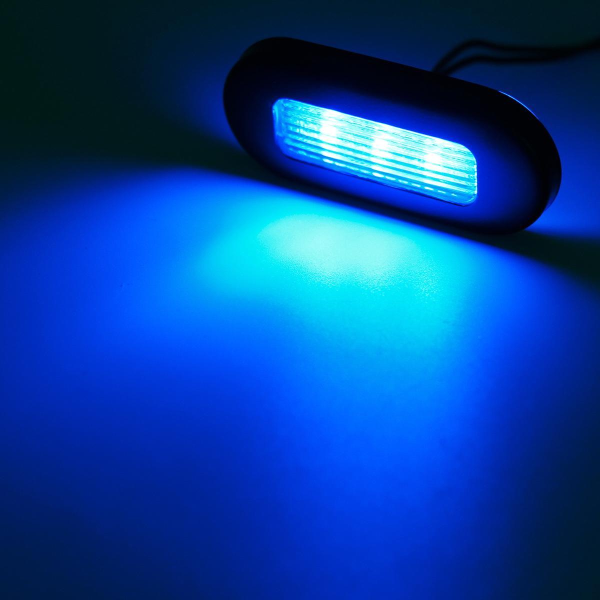 Diablo Led Boat Lights: 4) Marine Boat Blue LED Oblong Courtesy Light Stair Deck
