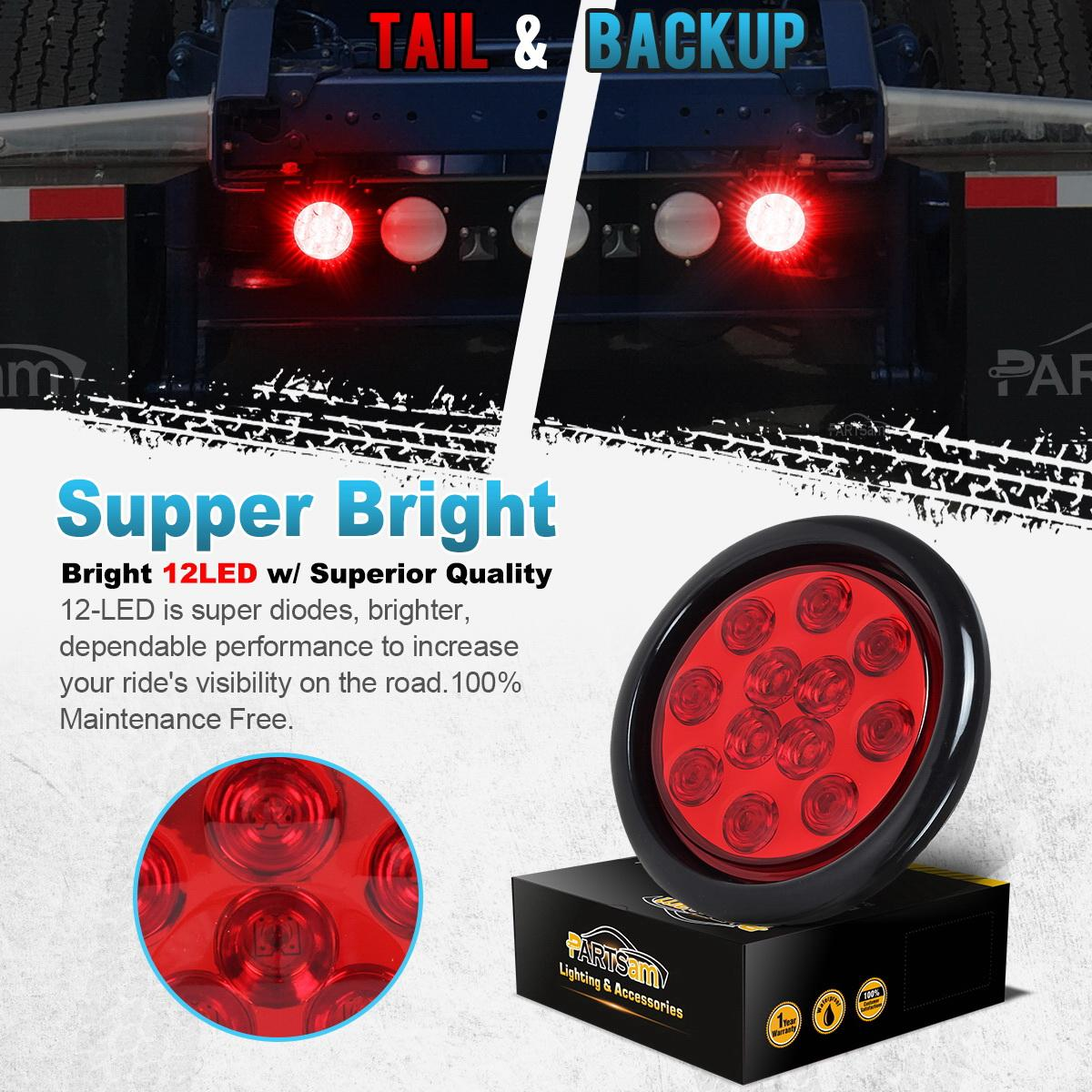 4 quot Inch Red 12 LED Round Stop Turn Tail Truck Light with