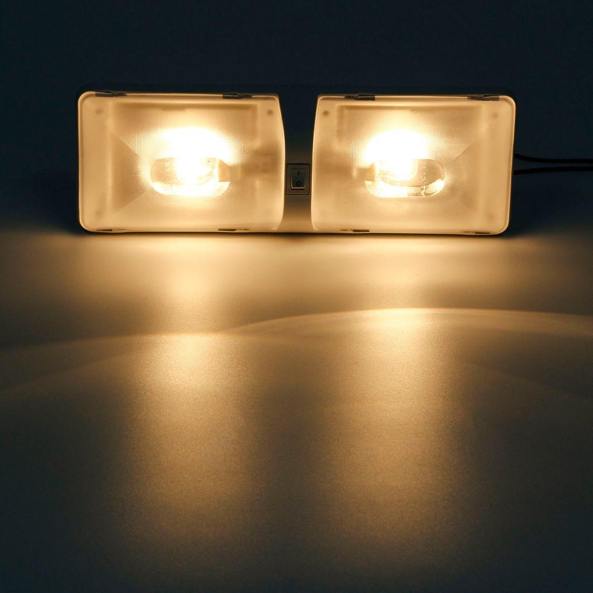 Double Dome Cargo Light Fixtures 12v Ceiling Interior Camper Rv Trailer Lamp Ebay