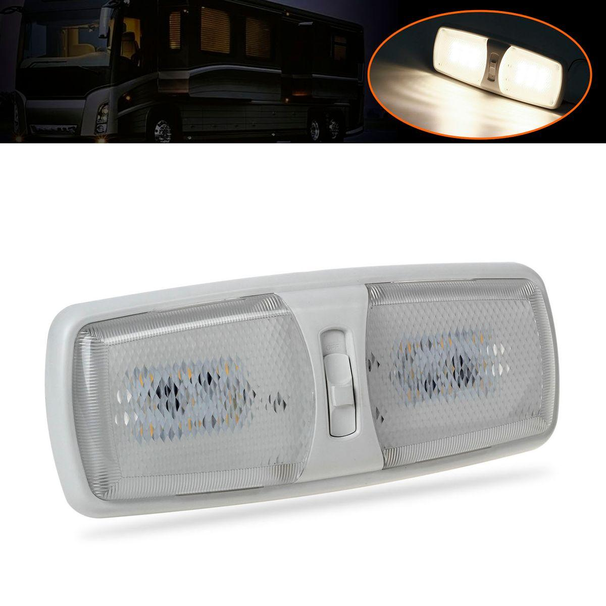 White Rv Interior Led Ceiling Light Boat Camper Trailer Double Dome 12v 18 Smd Ebay
