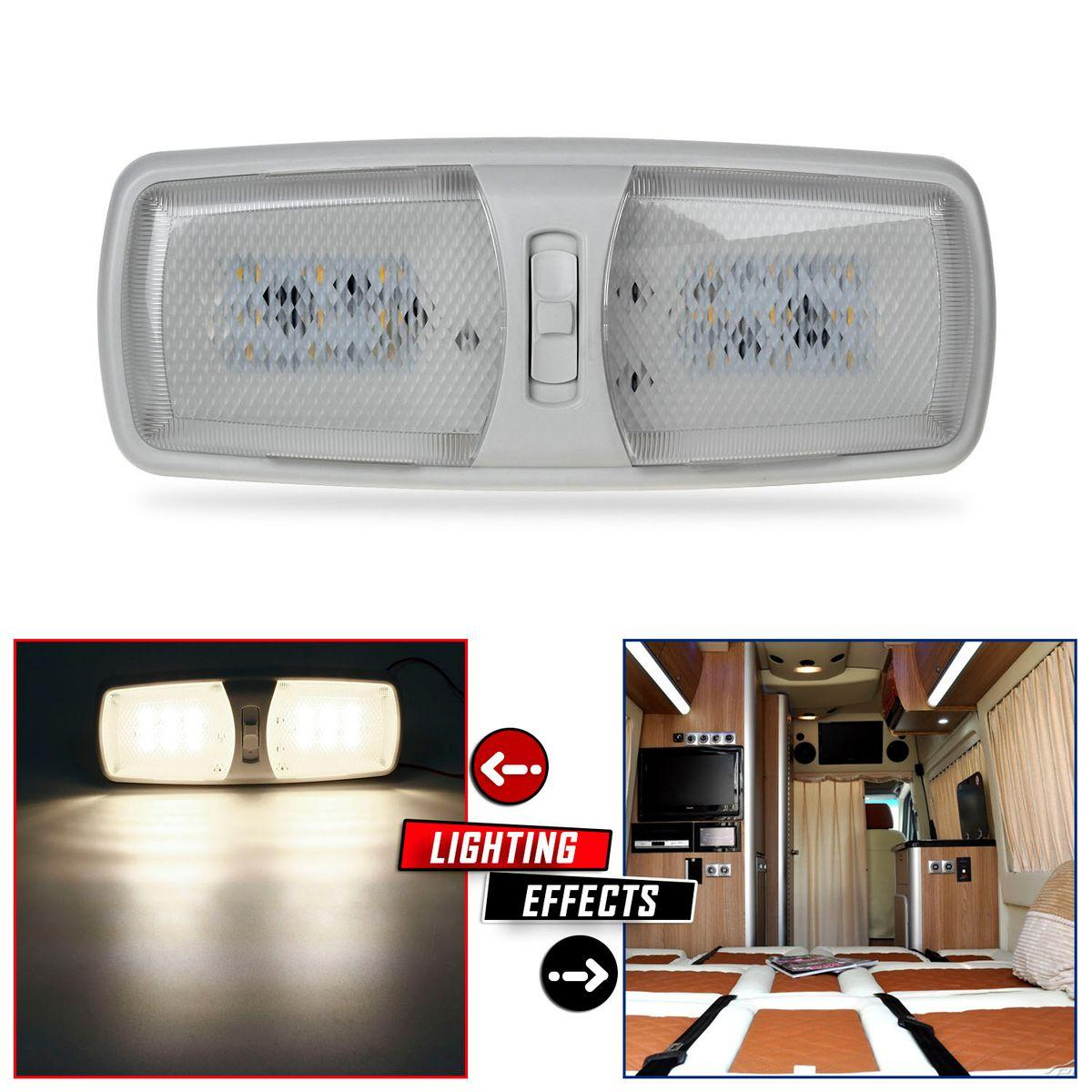 Rv Interior Led Ceiling Light Boat Camper Trailer Double Dome 12v 2 Modes Ebay