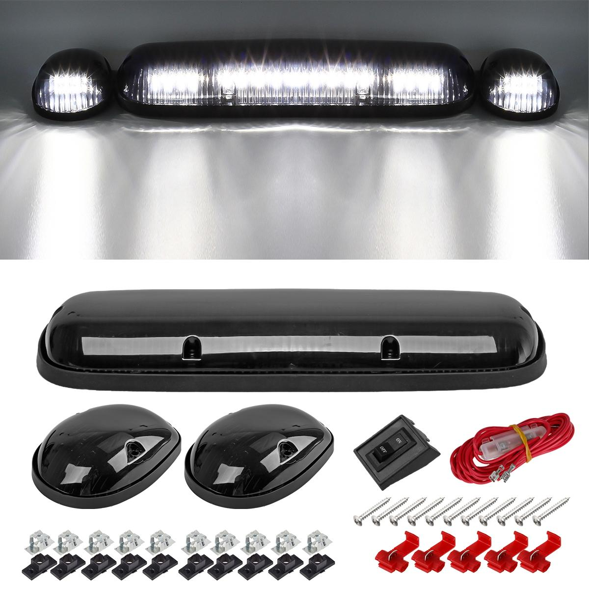 3pc Smoke Cab Roof Running White Led Lights For 02 07