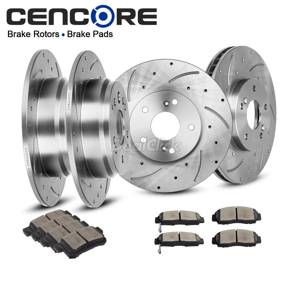 Front+Rear Drilled Slotted Brake Rotors And Ceramic Pads