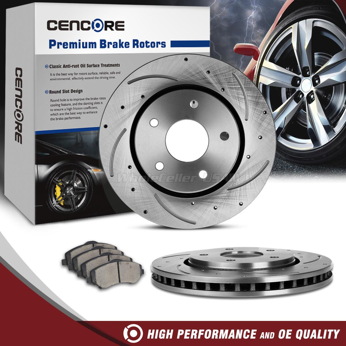Front Drilled Slotted Brake Rotors & Ceramic Pad For Dodge