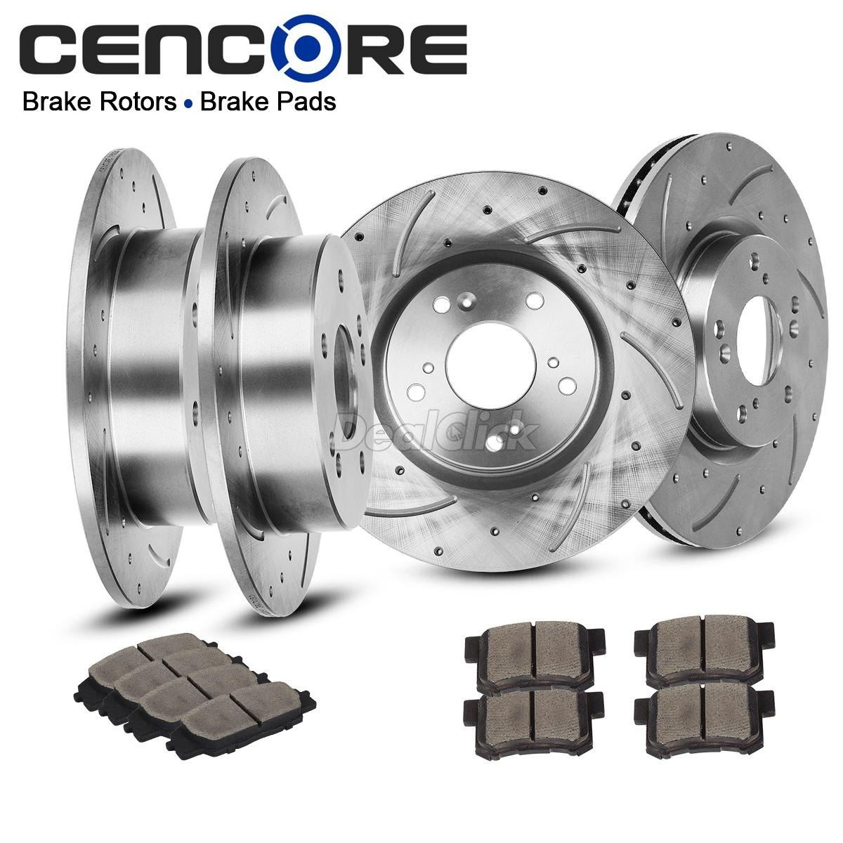 Front+Rear Drilled Slotted Brake Rotors Ceramic Pads For