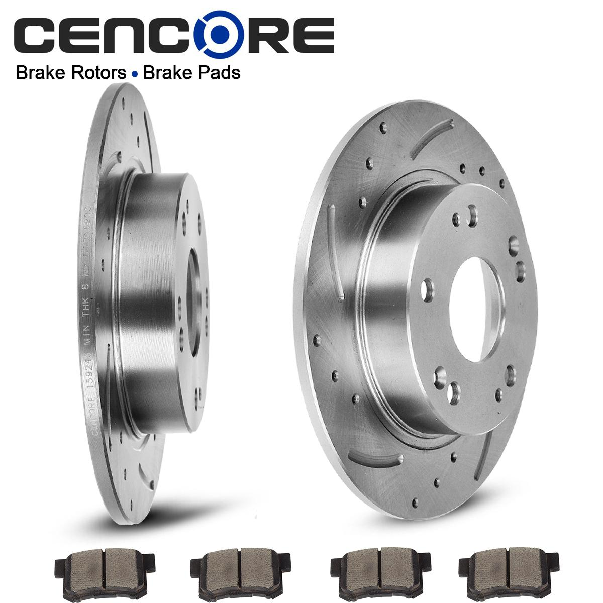 rear kit drilled slotted brake rotors ceramic pads for 2006 2011 honda civic si ebay. Black Bedroom Furniture Sets. Home Design Ideas