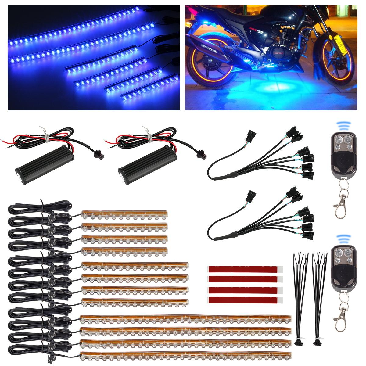 Motorcycle Engine Tools: 12pcs Blue LED Flexible Strip Motorcycle Engine Accent