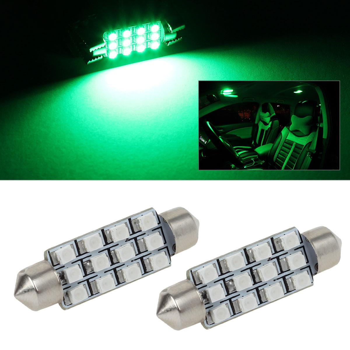 2x green 12smd car interior reading lights accessories 12v 578 212 2 211 2 ebay. Black Bedroom Furniture Sets. Home Design Ideas