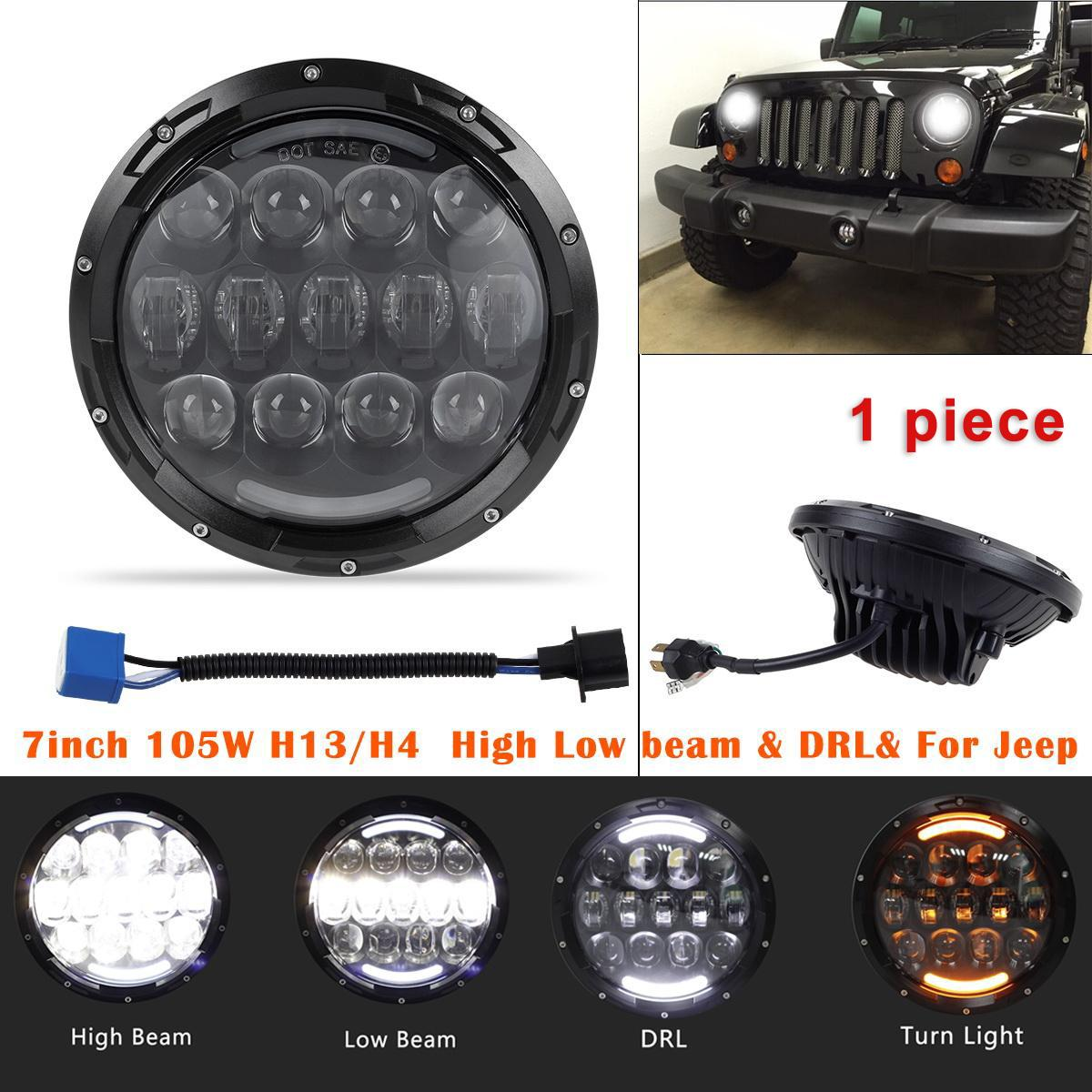 7 Quot 105w Led Cree Headlight Hi Lo Beam For 97 16 Jeep