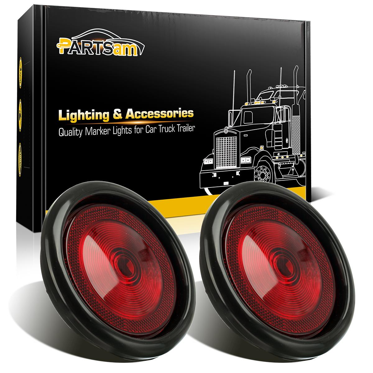 2  Trailer Truck Red Sealed 4 U0026quot  Round Led Stop Turn Tail