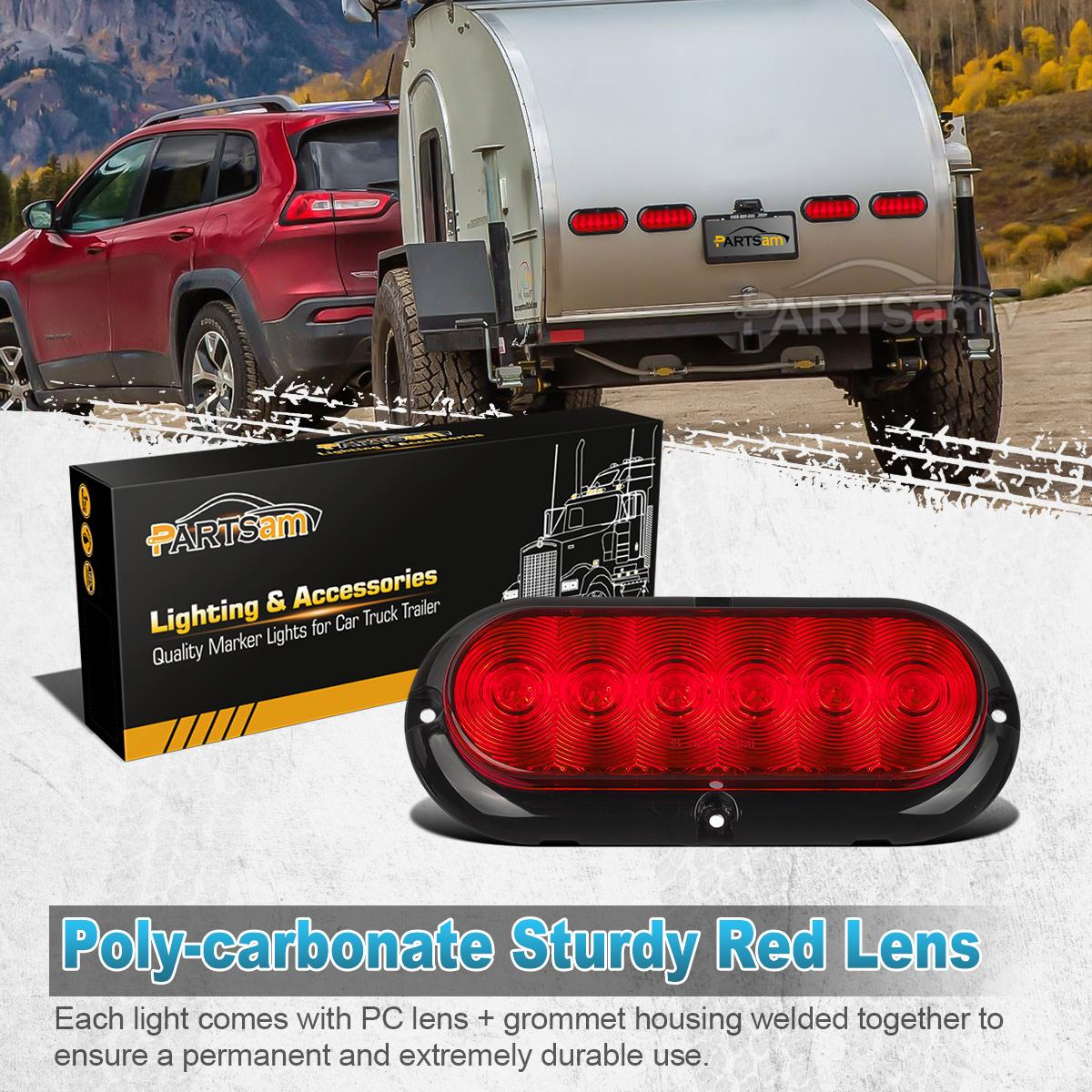 Truck And Trailer Lights : Trailer truck boat red led flange mount quot oval stop